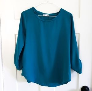 Pleione Sheer Scoop Neck Blouse Size XS